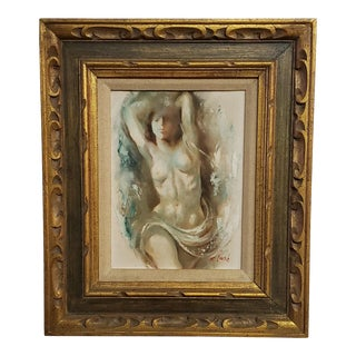 Late 20th Century Figurative Female Nude Oil Painting by Ray R. Lash, Framed For Sale
