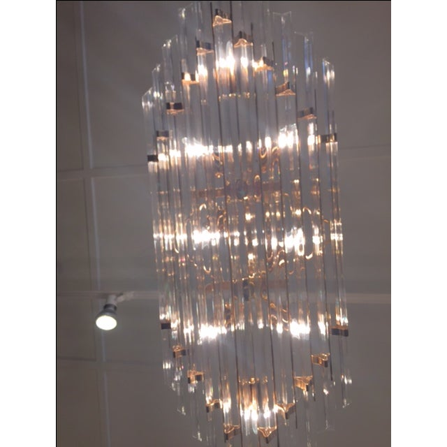 1970's Lucite and Brass Pendant Chandelier - Image 3 of 11