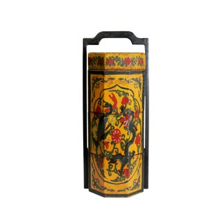 Chinese Yellow Lacquer Color Floral Graphic Painting Octagon Stack Box For Sale