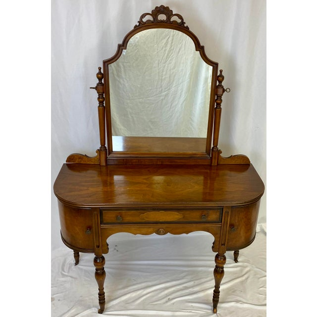 Antique Walnut English Art Deco Vanity With Mirror For Sale - Image 13 of 13