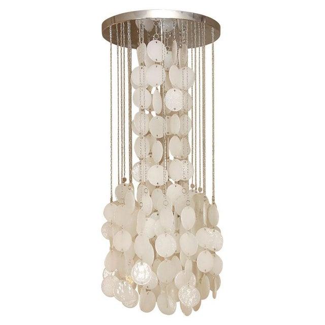 Mazzega Murano Cascade White Glass Disk Chandelier For Sale - Image 9 of 9