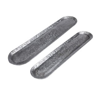 Long Rustic Aluminum Metallic Silver Handmade Trays With Etched and Die Cut Pattern - a Pair For Sale