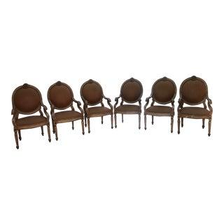 Peach Velvet Round Back Armchairs - Set of 6