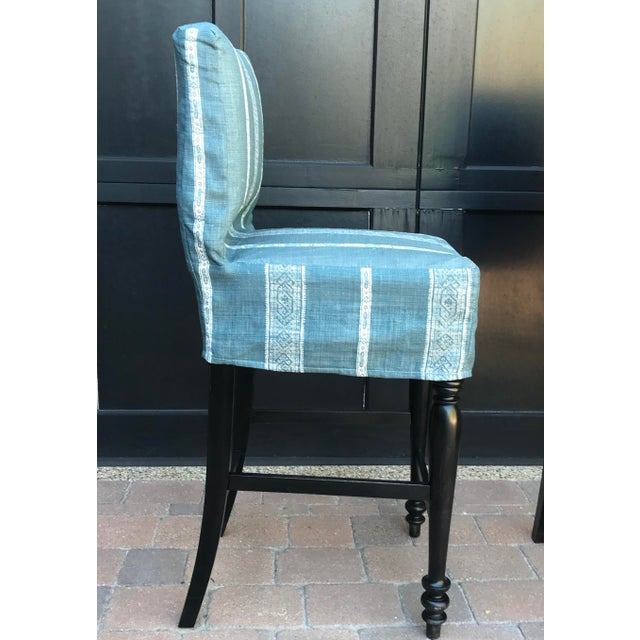 Black Oak Counterstool With Carolina Irving Patmos Stripe Reverse Slipcovers - Set of 4 For Sale - Image 9 of 13