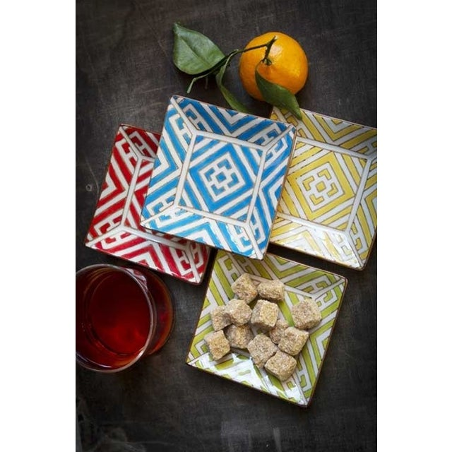 Boho Chic Hand painted Moroccan Tapas Plates - Set of 8 For Sale - Image 3 of 3