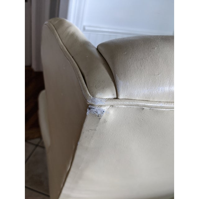 White Mid-Century Chesterfield Tufted White Leather Wingback Chair For Sale - Image 8 of 9