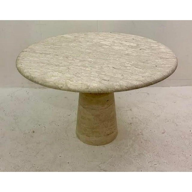 Round Dining Table in Travertine in Style of Angelo Mangiarotti