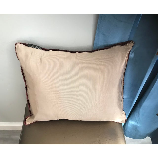 Stunning high shine chocolate color faux mink pillow Includes down frilling Removable cover Cream twill backing Hidden zipper