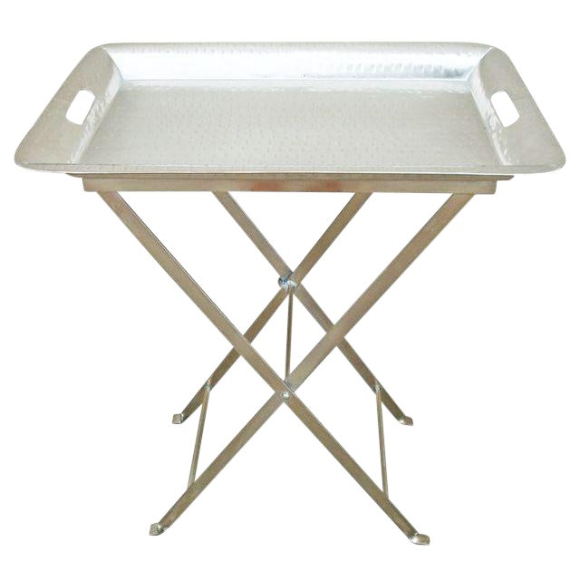 Silver Hammered Removable Tray Table For Sale