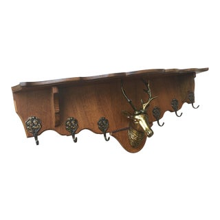 Antique English Oak Wall Shelf Coat Plate Hat Rack Brass Deer Stag Antler For Sale