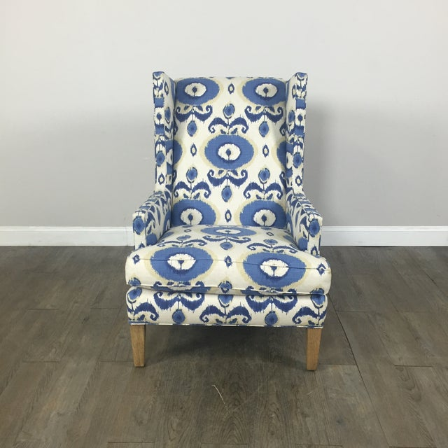 Crate & Barrel Patterned Wingback Chair - Image 3 of 10