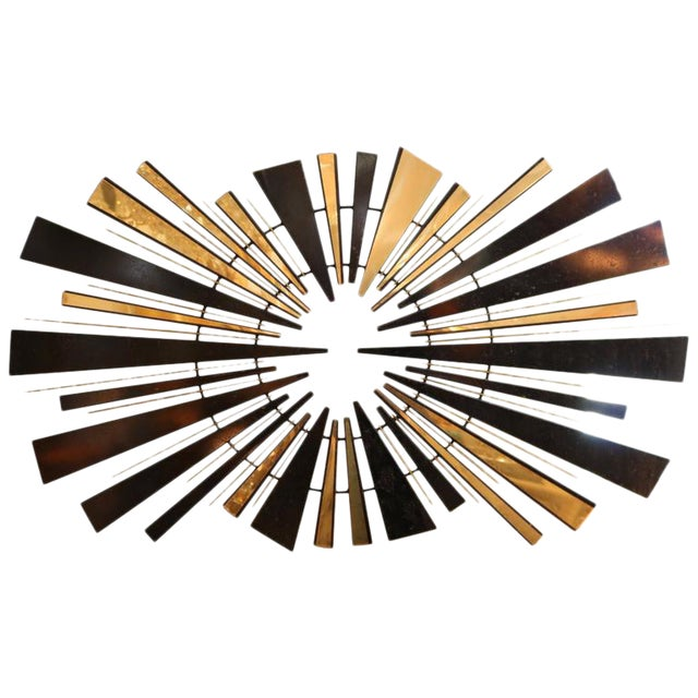 Curtis Jere Sunburst Wall Sculpture in Brass and Black, circa 1974 For Sale