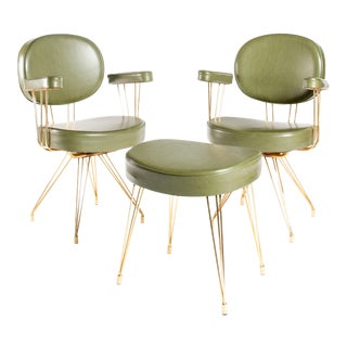 Mid-Century Armchairs and Single Footstool by Pierre Paulin for Thonet- a Pair For Sale