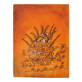 Persian Lovers Painting on Leather- Signed For Sale
