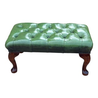 Vintage English Chesterfield Green Leather Tufted Oak Footstool For Sale