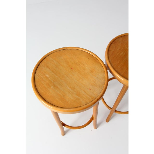 Tan Mid-Century Bentwood Stools - A Pair For Sale - Image 8 of 8