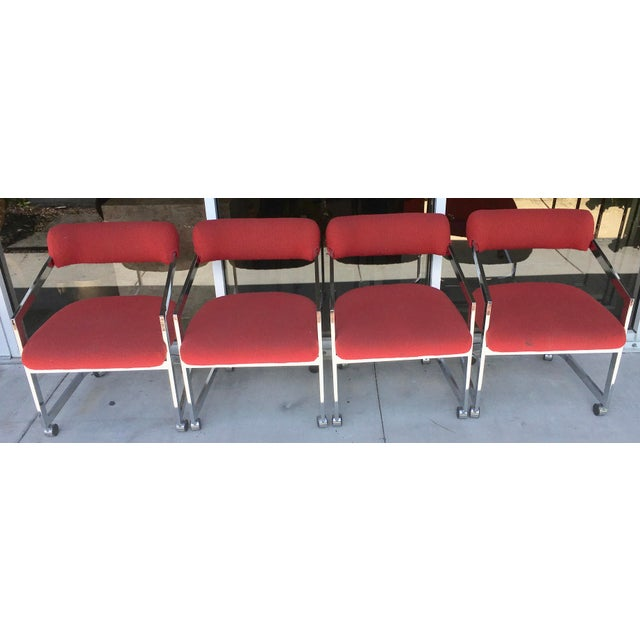 Mid-Century Modern Dia Chairs on Casters - Set of 4 For Sale - Image 3 of 8
