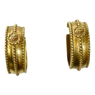 Karl Lagerfeld Matte Gold Hoop Earrings For Sale