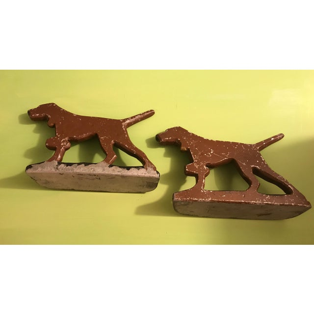 Painted Cast Metal Pointer Dog Bookends - Image 4 of 6