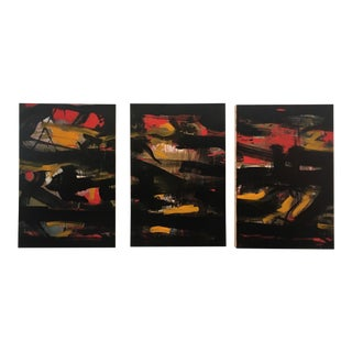 2020 Contemporary Abstract Expressionist Oil Painting by Al Saif, Triptych - Set of 3 For Sale