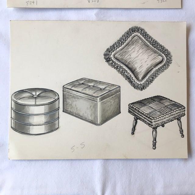Illustration 1970s Vintage Furniture Ad Illustrations - A Pair For Sale - Image 3 of 8