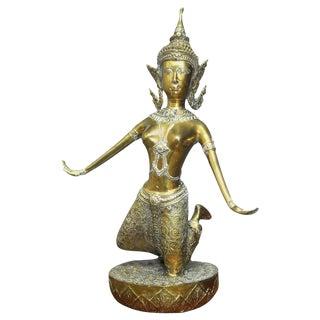 Thai Gilt Bronze Khon Dancer Buddhist Figure For Sale