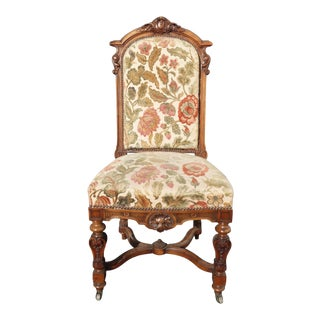 Vintage French Louis XV Ornately Carved Chair Floral Velvet Fabric Castor Wheels For Sale