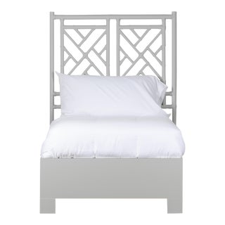 Chippendale Bed Twin Extra Long - Light Gray For Sale