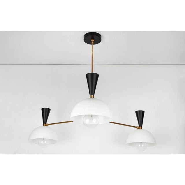Italian Large Three-Cone 'Lola Ii' Black and White Chandelier For Sale - Image 3 of 13