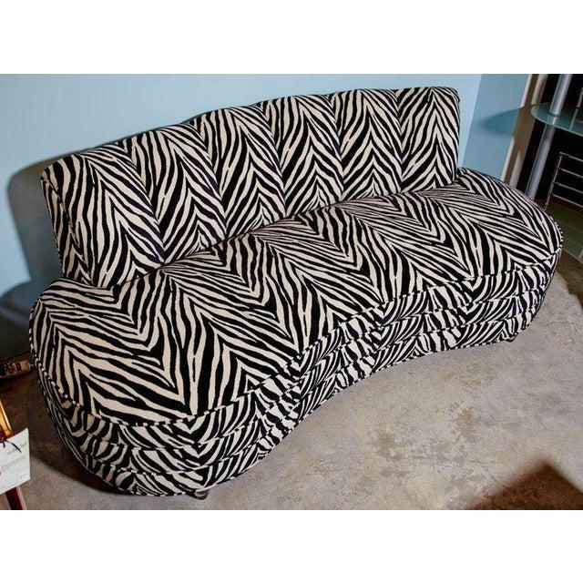 Custom Midcentury Kagan Style Zebra Pattern Sofa For Sale - Image 4 of 7