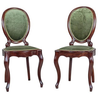 Mahogany, Green Chairs from 1870 For Sale