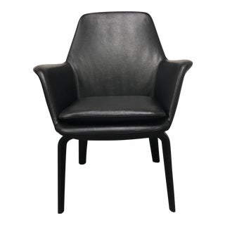 Black Leather Minotti York Lounge Chair For Sale
