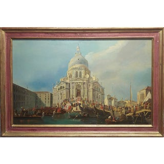 "18th Century ""Canaletto School"" Santa Maria Della Salute in Venice Oil Painting For Sale"
