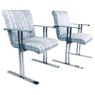 Pair of Chrome Armchairs by Directional For Sale