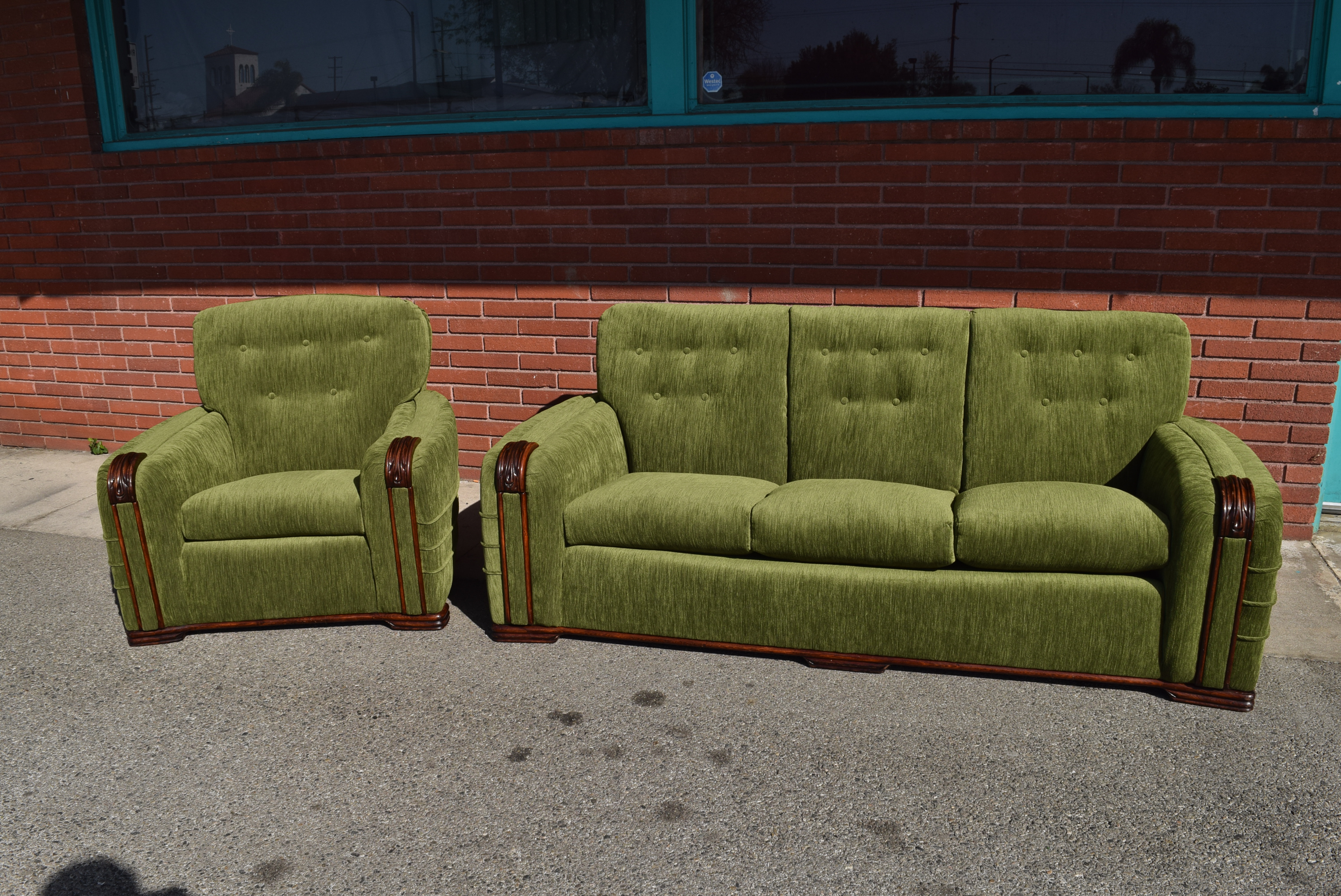 Vintage Art Deco Modern Green Velvet Sofa U0026 Chair   A Pair   Image 13 Of