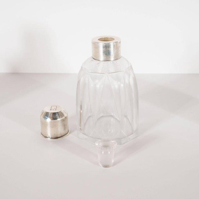 Transparent Art Deco Skyscraper Style Sterling Silver & Geometric Beveled Glass Perfume Set For Sale - Image 8 of 9