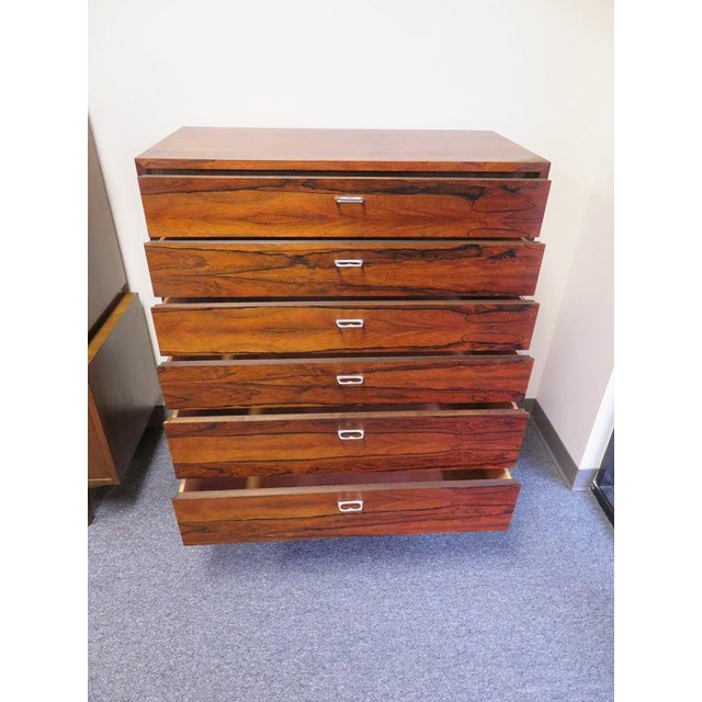 Silver 1970s Mid-Century Modern 6-Drawer Rosewood Highboy For Sale - Image 8 of 13