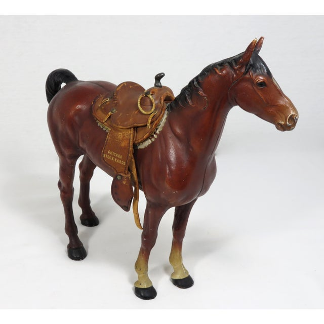 1930s Cast Iron Horse & Leather Saddle Doorstop For Sale - Image 12 of 12