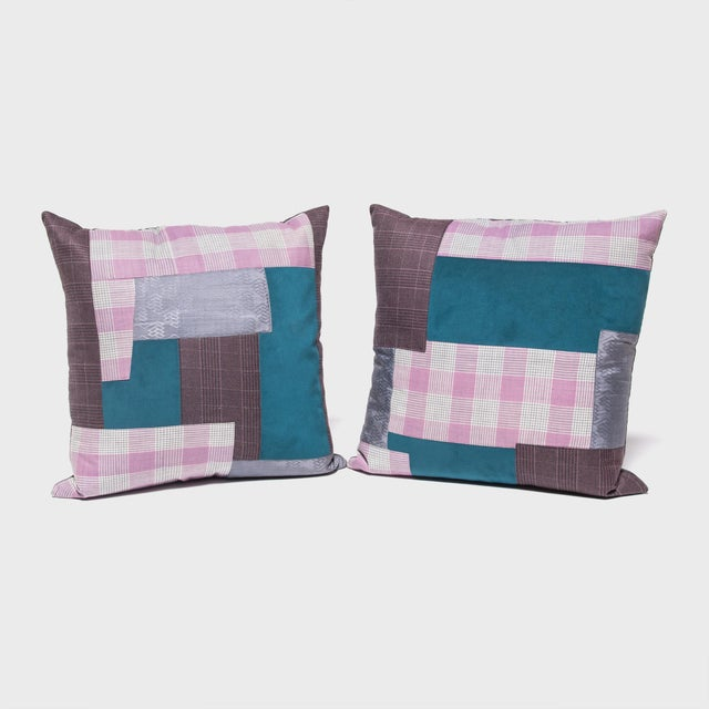 Early 21st Century Japanese Suiting Throw Pillow For Sale - Image 5 of 6