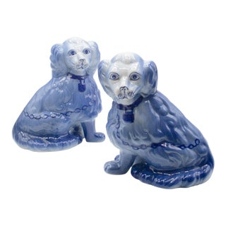Staffordshire Style Blue Spaniel Figurines - a Pair For Sale