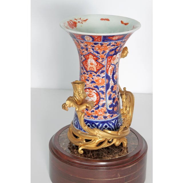 Pair of 19th Century Ormolu Mounted Imari Vases With Mahogany and Marble Stands For Sale - Image 9 of 12