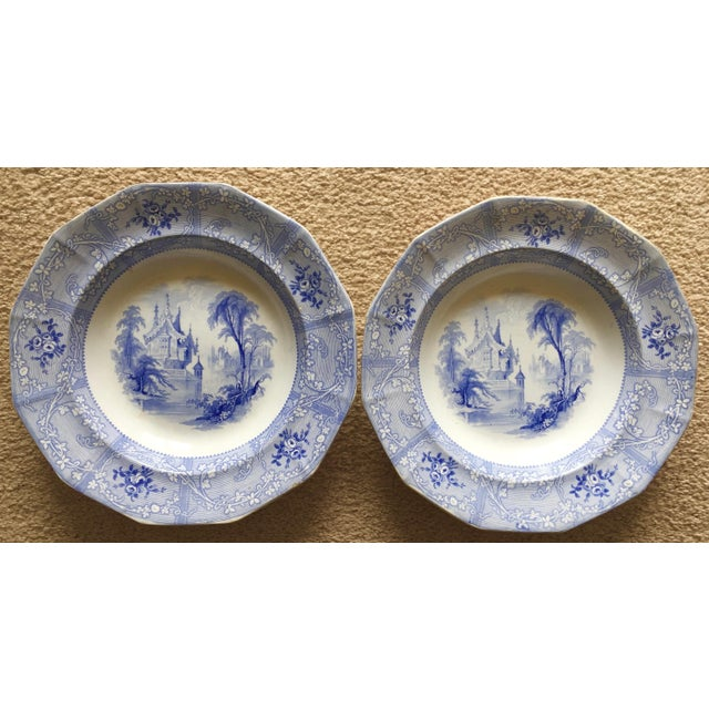 Blue Antique English Staffordshire Chinoiserie Soup Bowls-Davenport For Sale - Image 8 of 10