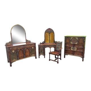 Antique Oak English Revival Hillenbrand Bedroom Set For Sale