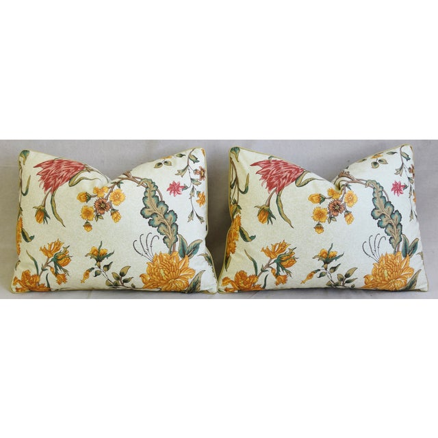 """Schumacher Arbre Fleuri Floral & Ticking Feather/Down Pillows 22"""" X 16"""" - Pair For Sale In Los Angeles - Image 6 of 13"""