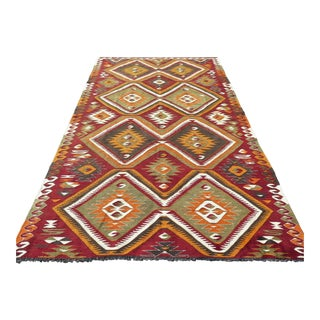 "Turkish Kilim Handmade Wool Rug-5'5'x9'7"" For Sale"
