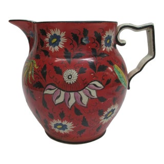 Antique Hand Painted English Pitcher With Handle For Sale
