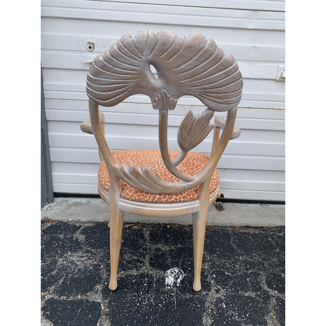 Wood 1970s Vintage Lime Wash Floral Carved Dining Chairs in the Manner of Phyllis Morris - Set of Four For Sale - Image 7 of 10