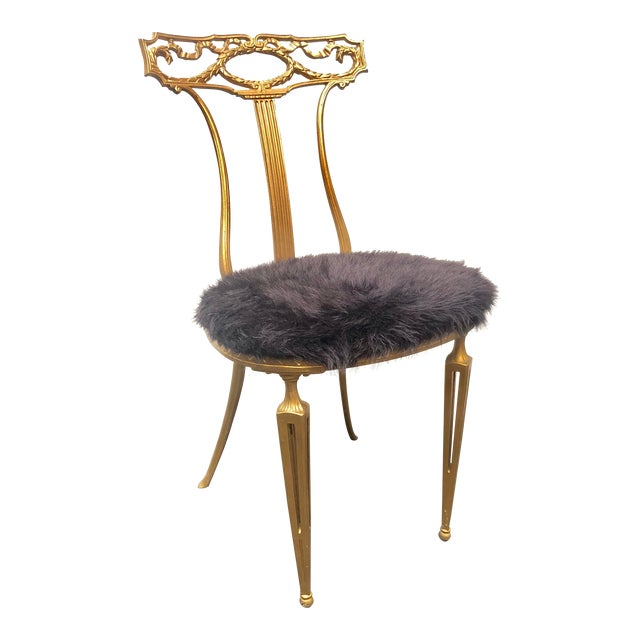 1950s Vintage Italian Neoclassical Style Gold Gilt Wrought Iron Accent Chair For Sale