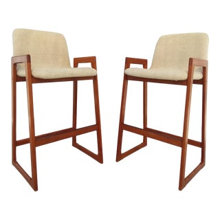 Mid Century Modern Danish Teak Barstools - a Pair For Sale