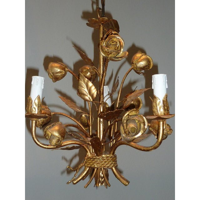 1960s Italian Gilded Rose Flower Chandelier - Image 7 of 8